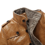 England Style Faux Fur  Thicken Leather Jacket - Offy'z6