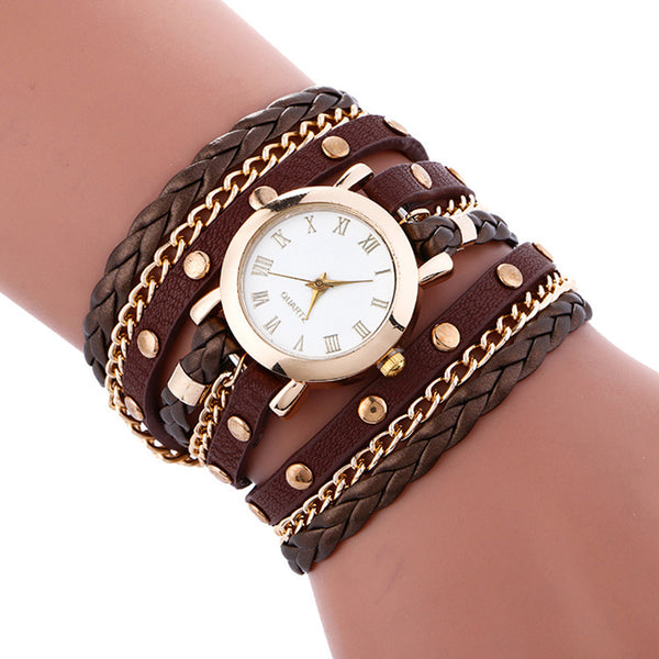 Wrap Around Fashion Bracelet Lady Womans Wrist Watch