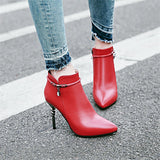 Pointed Toe High Heel Pumps Ladies Zippers - Offy'z6