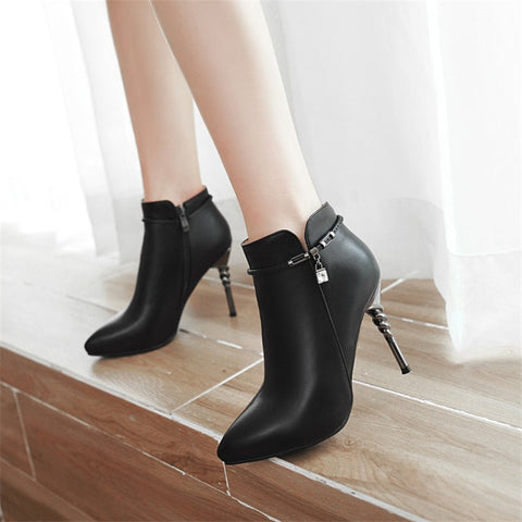 Pointed Toe High Heel Pumps Ladies Zippers