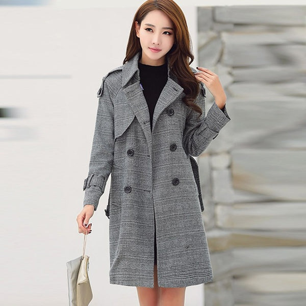 Women's Lapel Neck Plaid Coat