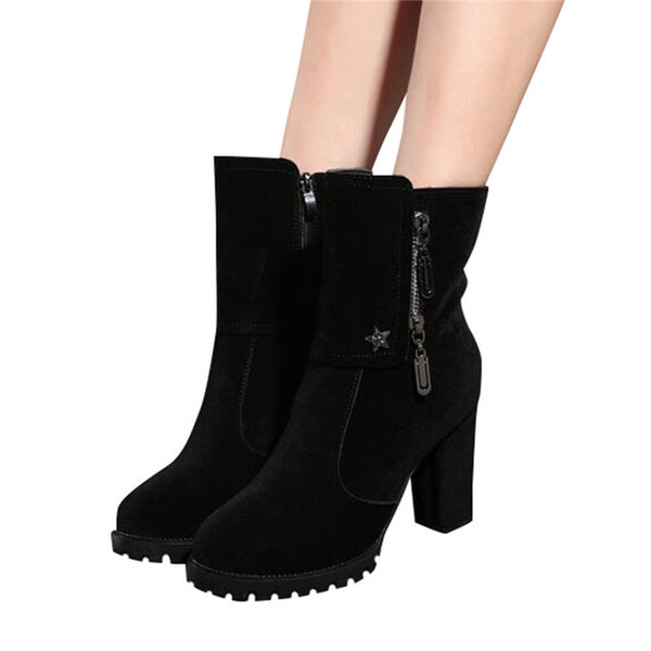 Thick High Heel Winter Boots - Women'z