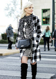 Plaid Open Front Collarless Coat - Offy'z6