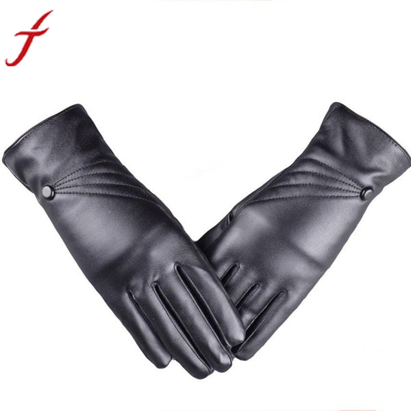 Winter Super Warm Gloves Women Girl Leather Cashmere Black Gloves #LYW