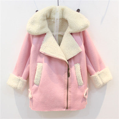 UOIPAE Winter Jacket For Kids 2017 Casual Plus Velvet Thick Warm Coat Girls Long Sleeve Solis Simple Children Clothing 4103M