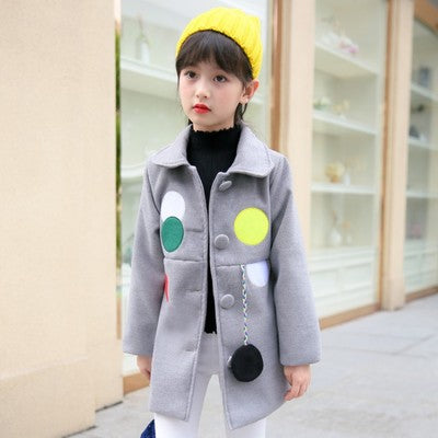 UOIPAE Winter Jacket Kids Casual Dot Hairball Girls Coat And Jacket Long Sleeve Single-breasted Simple Kids Clothes 5759W
