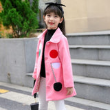 UOIPAE Winter Jacket Kids Casual Dot Hairball Girls Coat And Jacket Long Sleeve Single-breasted Simple Kids Clothes 5759W - Offy'z6