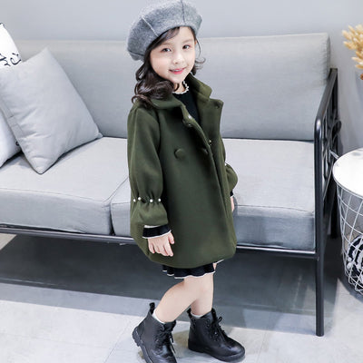 UOIPAE Kids Jacket Winter 2017 Casual Plus Thick Plus Coat For Girls Long Sleeve Solid Simple Children Clothing 4101M