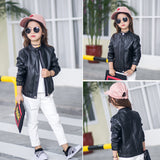 Solid Color Children's Leather Jacket - Offy'z6