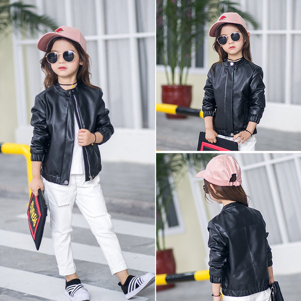 Solid Color Children's Leather Jacket