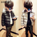 UOIPAE Boy Kids Jacket 2017 Casual Solid Color Winter Children Coat Fur Collar Cap Long Sleeve Simple Boys Clothes 5734W - Offy'z6