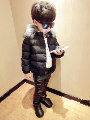 UOIPAE Boy Kids Jacket 2017 Casual Solid Color Winter Children Coat Fur Collar Cap Long Sleeve Simple Boys Clothes 5734W