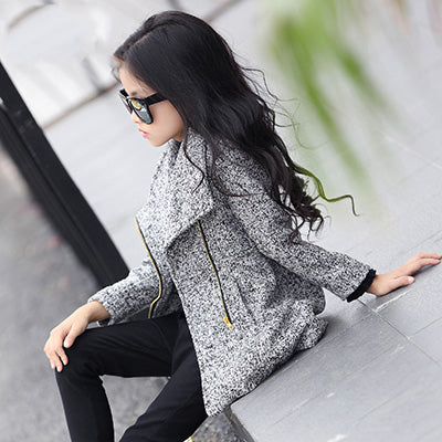 Long Sleeve Zipper Girl's Coat