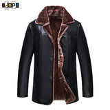 New Winter Simple Mens Faux Fur Coats Black PU Leather Jackets Bussiness Windproof Warm Coat For Male - Offy'z6