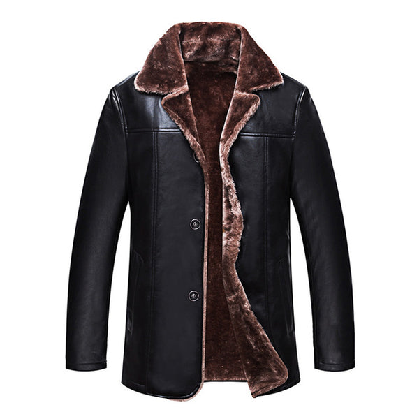 New Winter Simple Mens Faux Fur Coats Black PU Leather Jackets Bussiness Windproof Warm Coat For Male