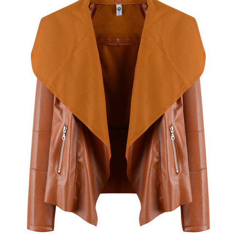Elegant loose Leather Coat Jacket