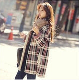 Women's round neck Plaid Sweater - Offy'z6
