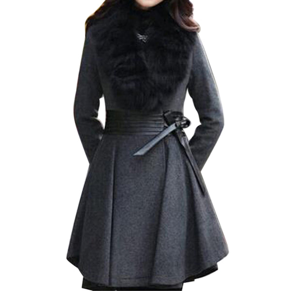 Fur Collar Outwear Overcoat
