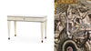 Photo collage of parchment desk and mirror panel from the Normandie