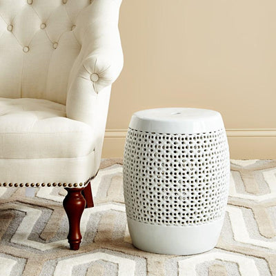 Photo of Bungalow 5 CHANTILLY STOOL, WHITE pierced-porcelain-table-white-cnl-500-109