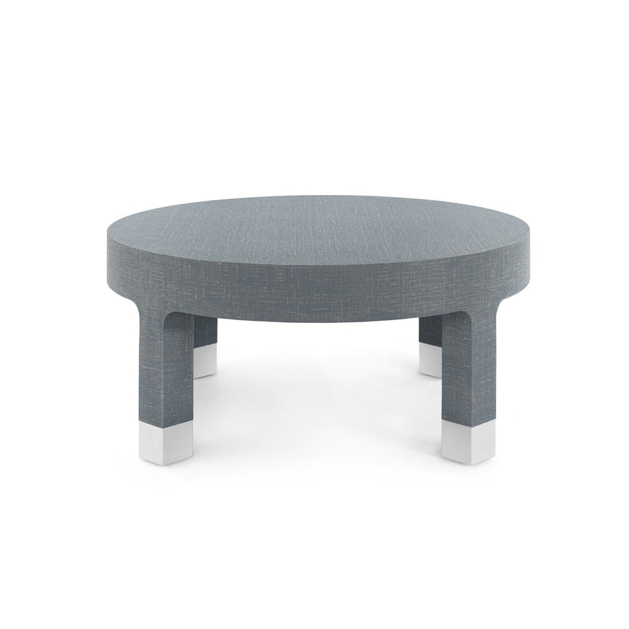 Dakota Modern Round Coffee Table | Lacquered Gray Linen
