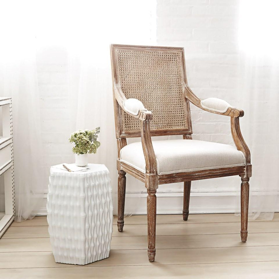 Photo of Bungalow 5 Burma Porcelain Stool | Warm White | Bamboo Texture burma-porcelain-stool-white