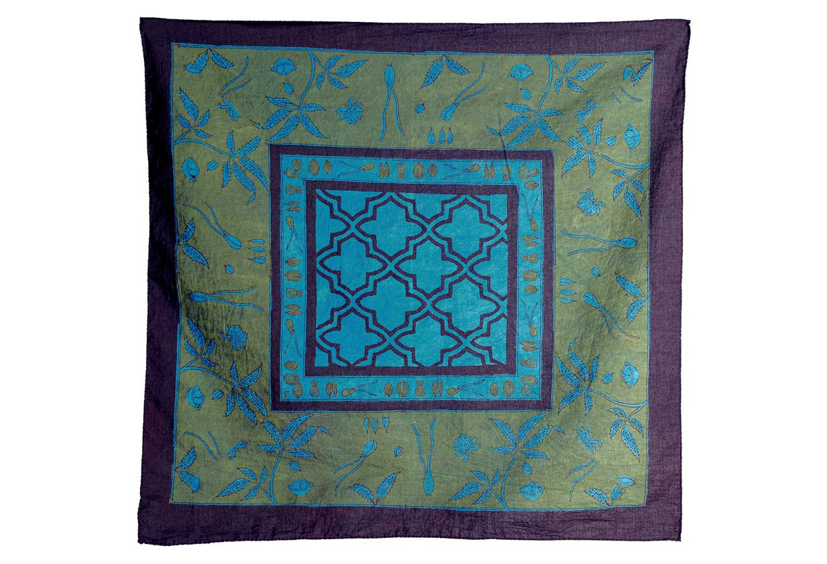 Cannabis Print Bandana | Hand Blocked | Natural Kashish or Indigo - Greige