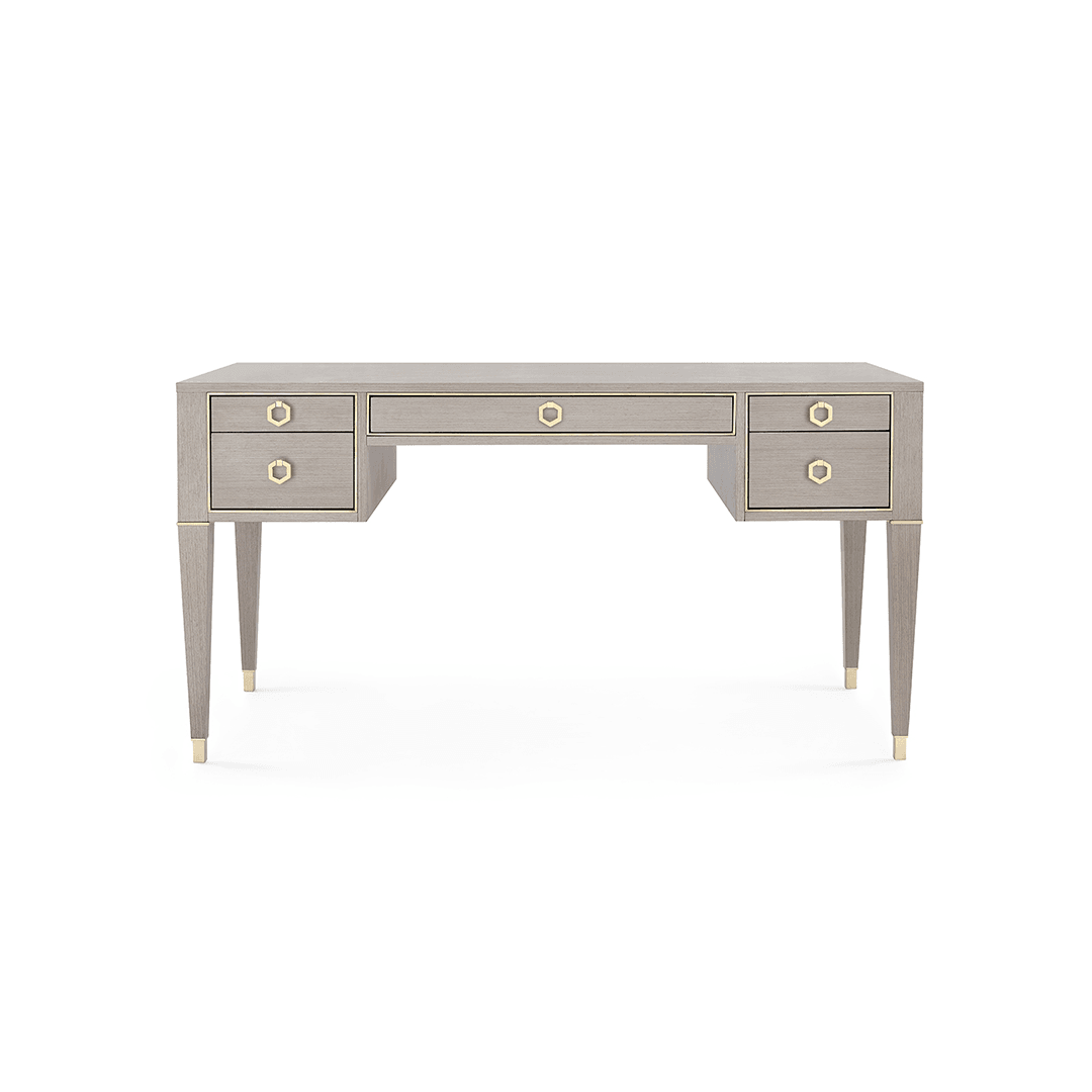 Contemporary French Desk | Tightly Grained Veneers | Fantastic Details - Greige