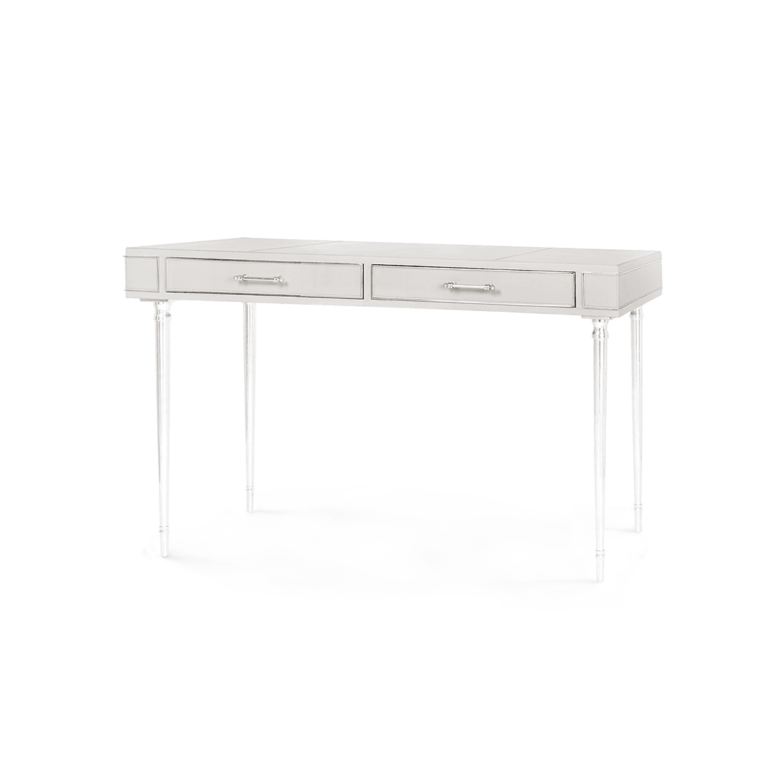 Empire Desk | Leather and Nickel - Greige