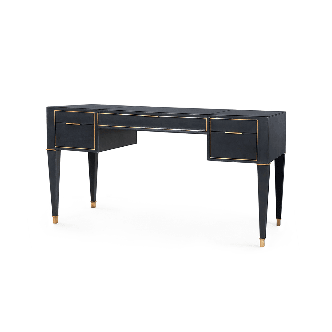 Hunter Classic Leather Desk | Great Hardware and Stitching Details | #WFH Better - Greige