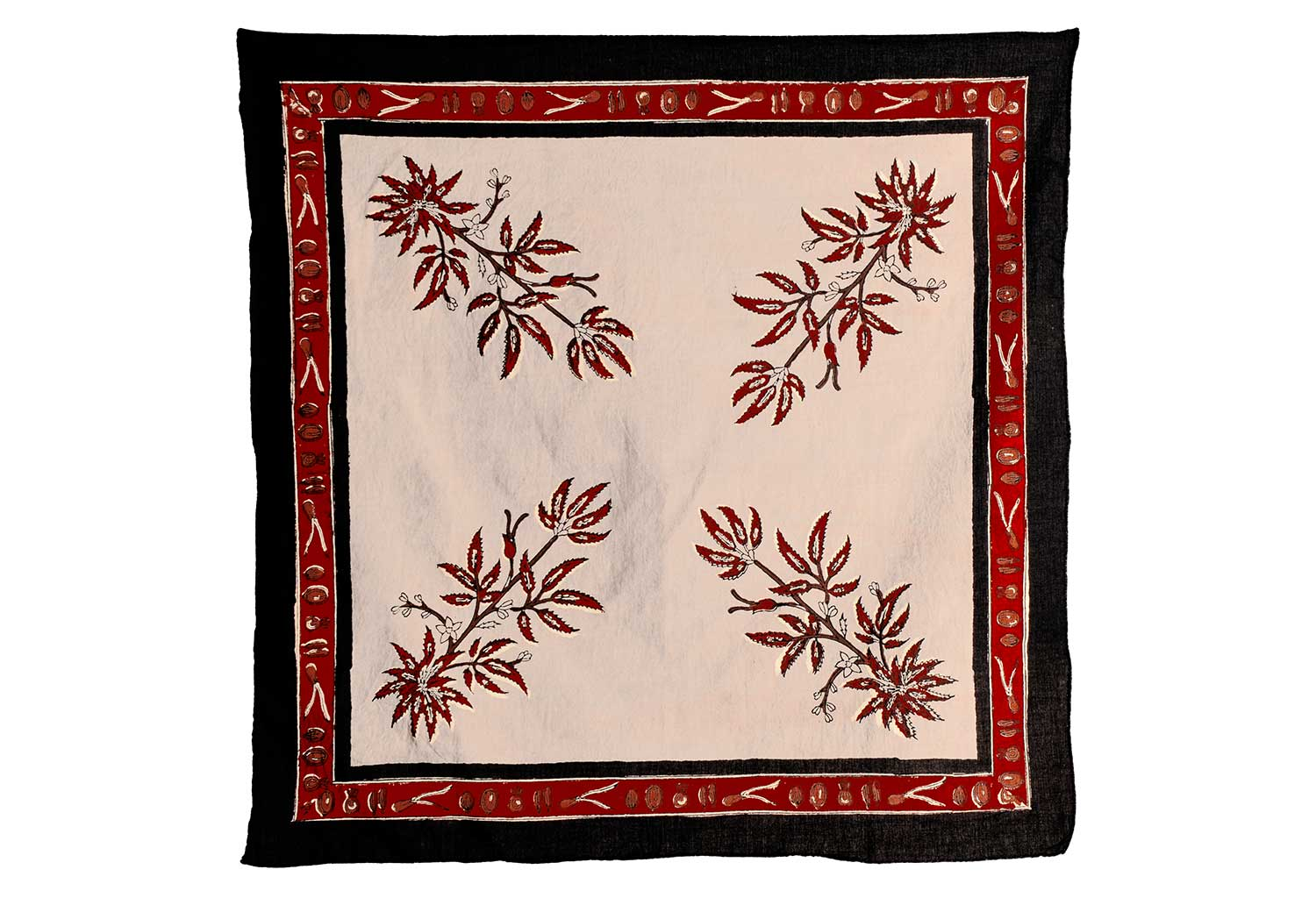 Red Madder Cannabis Design Bandana | Hand Block Printed | Natural Dyes - Greige