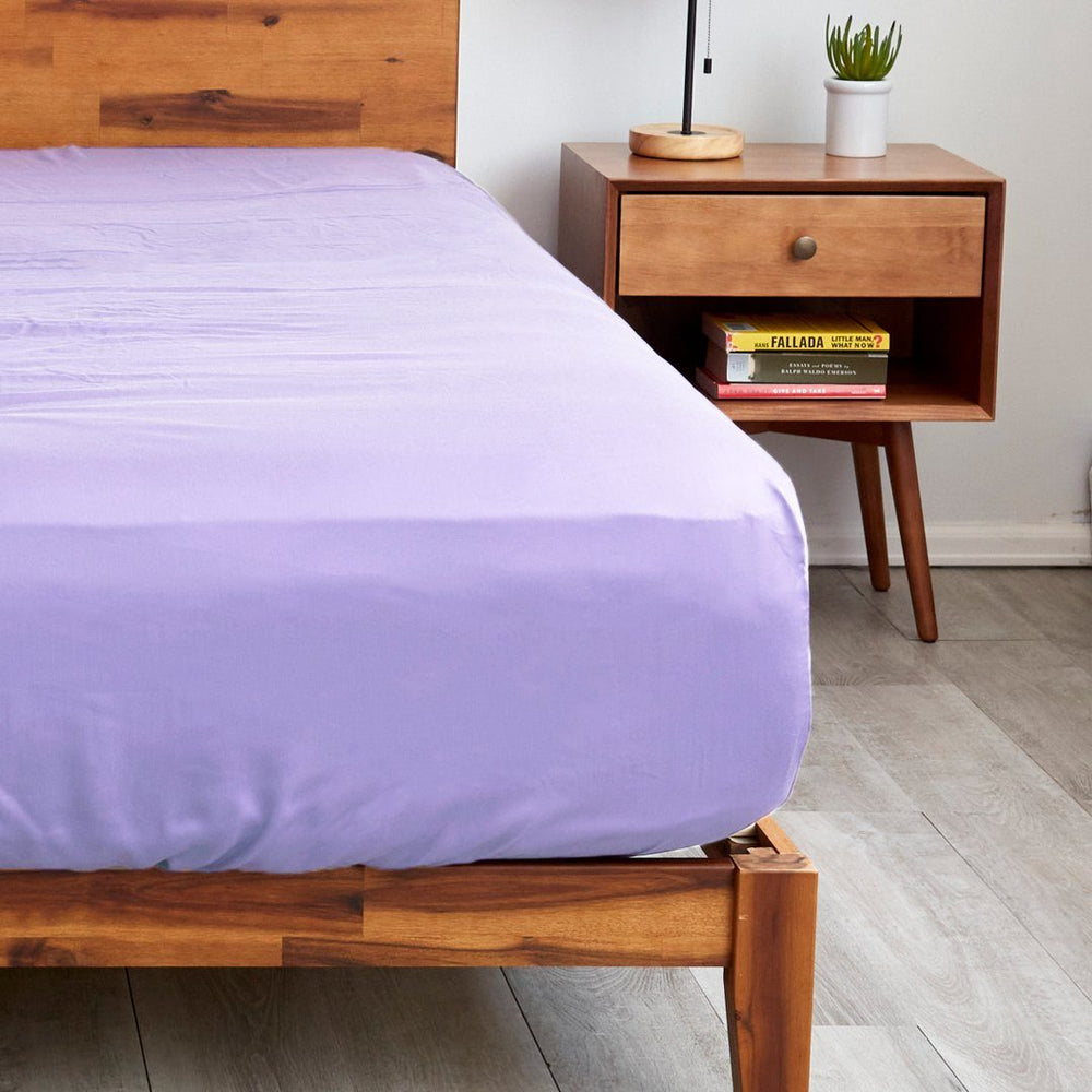 Sheets & Giggles lavender fitted sheets with extra deep pockets that fit mattresses up to 20