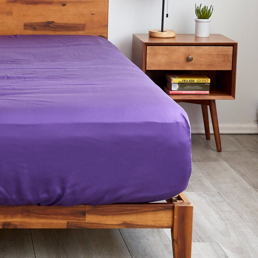Sheets & Giggles royal purple fitted sheets with extra deep pockets that fit mattresses up to 20