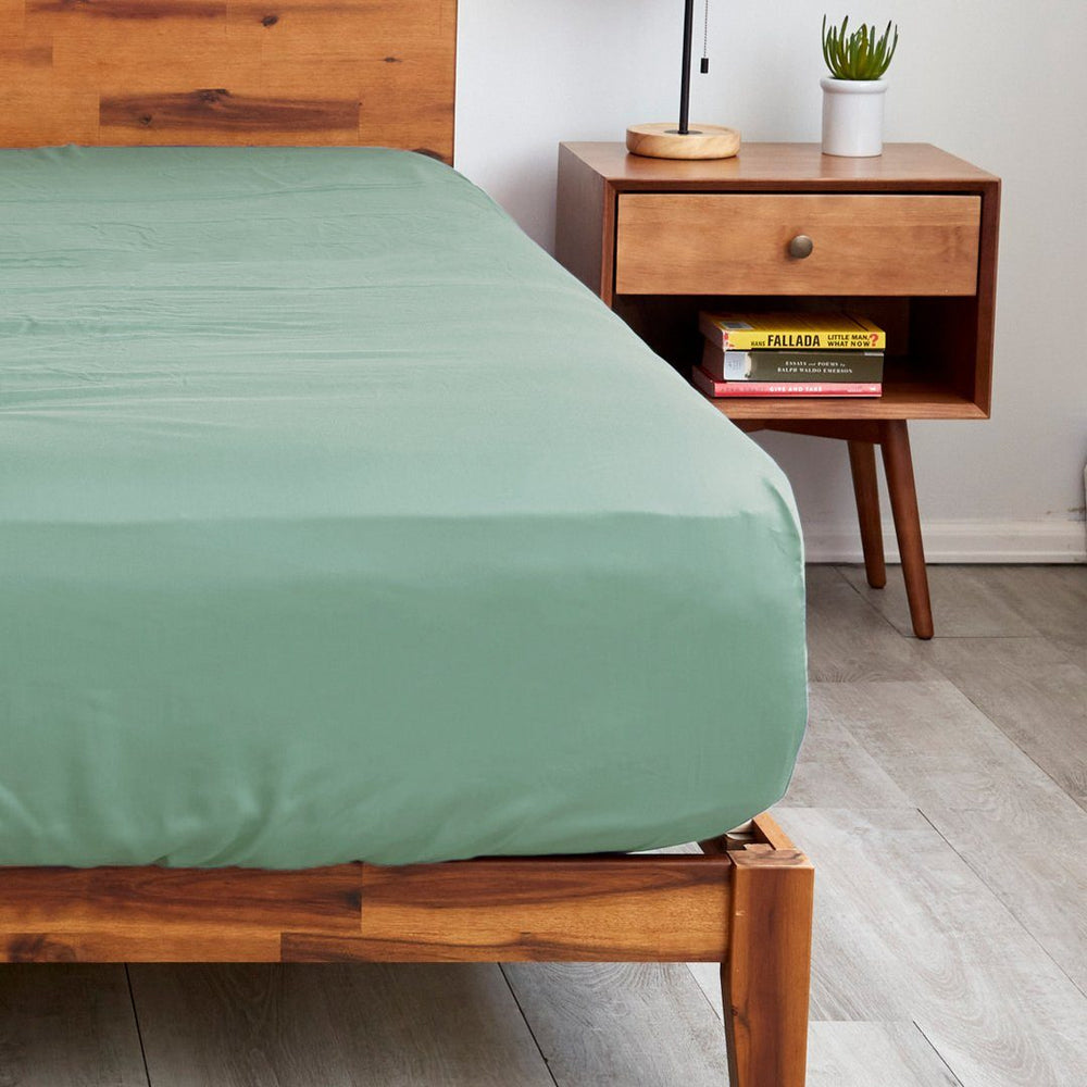Sheets & Giggles sage green fitted sheets with extra deep pockets that fit mattresses up to 20