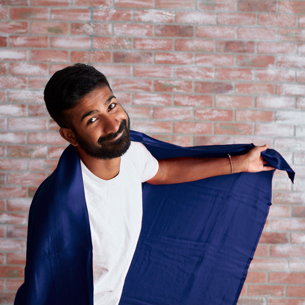 Girish is modeling our 100% Eucalyptus Sheets in Navy blue. So handsome