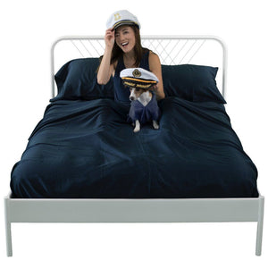 Navy eucalyptus sheets