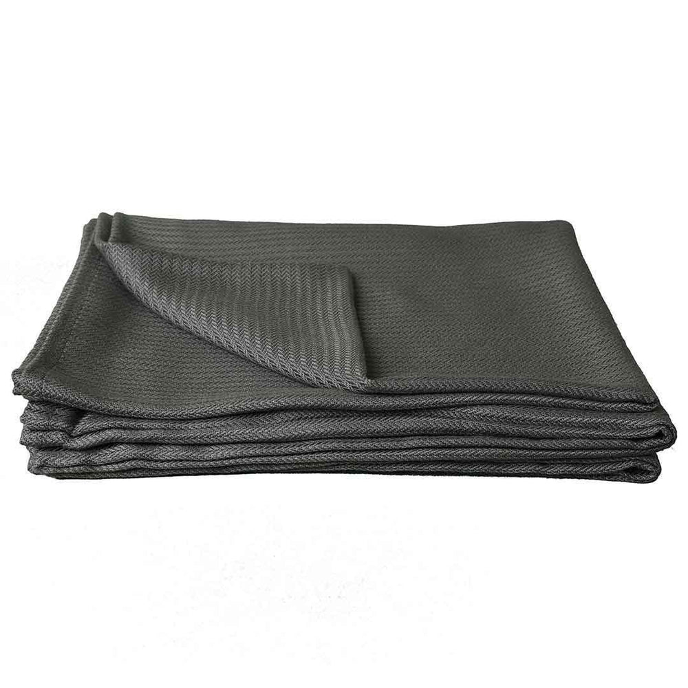 Our grey eucalyptus throw blanket folds up nicely for easy transport