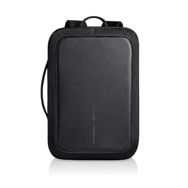Bobby Bizz anti theft backpack & briefcase negro vista frontal con letras reflejantes
