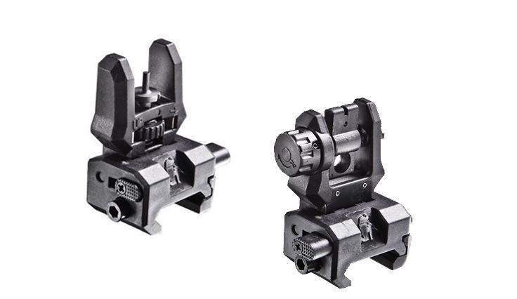 Front and Rear Back-Up  Sight Set - Push Button Flip-Up System
