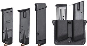 Polymer pouch for two magazines, with adjustment screw. Fits 9mm/.40 magazines - Belt-loop version
