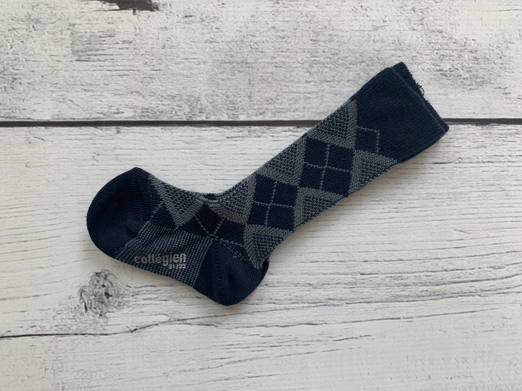 Navy Argyle Knee Sock - The Minted Moose