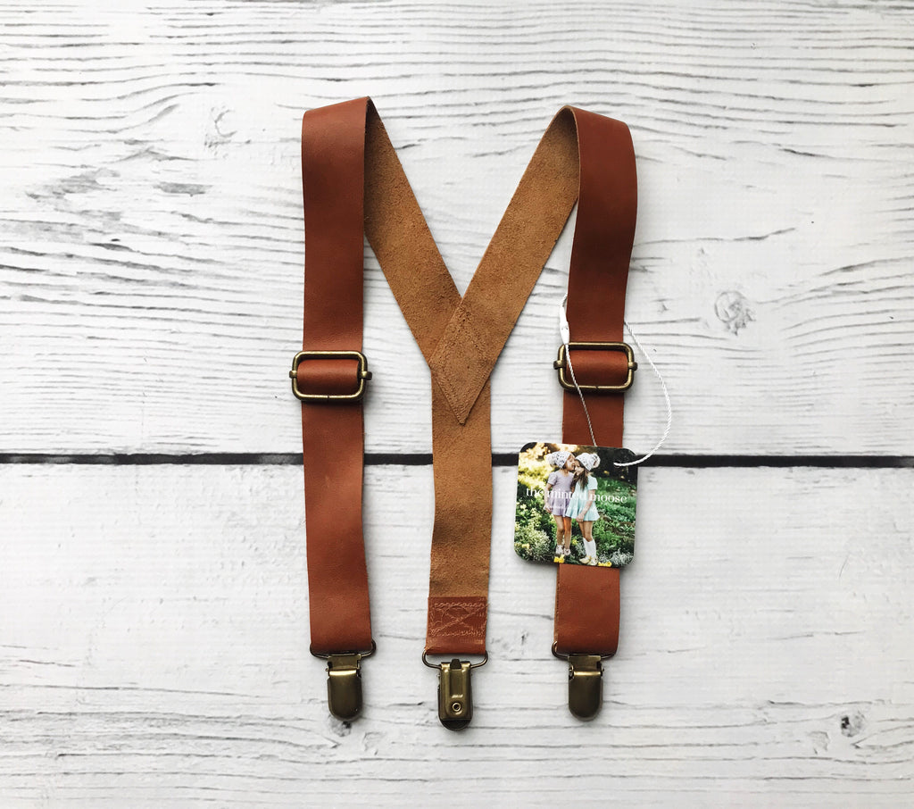 Cognac Leather Suspenders - The Minted Moose