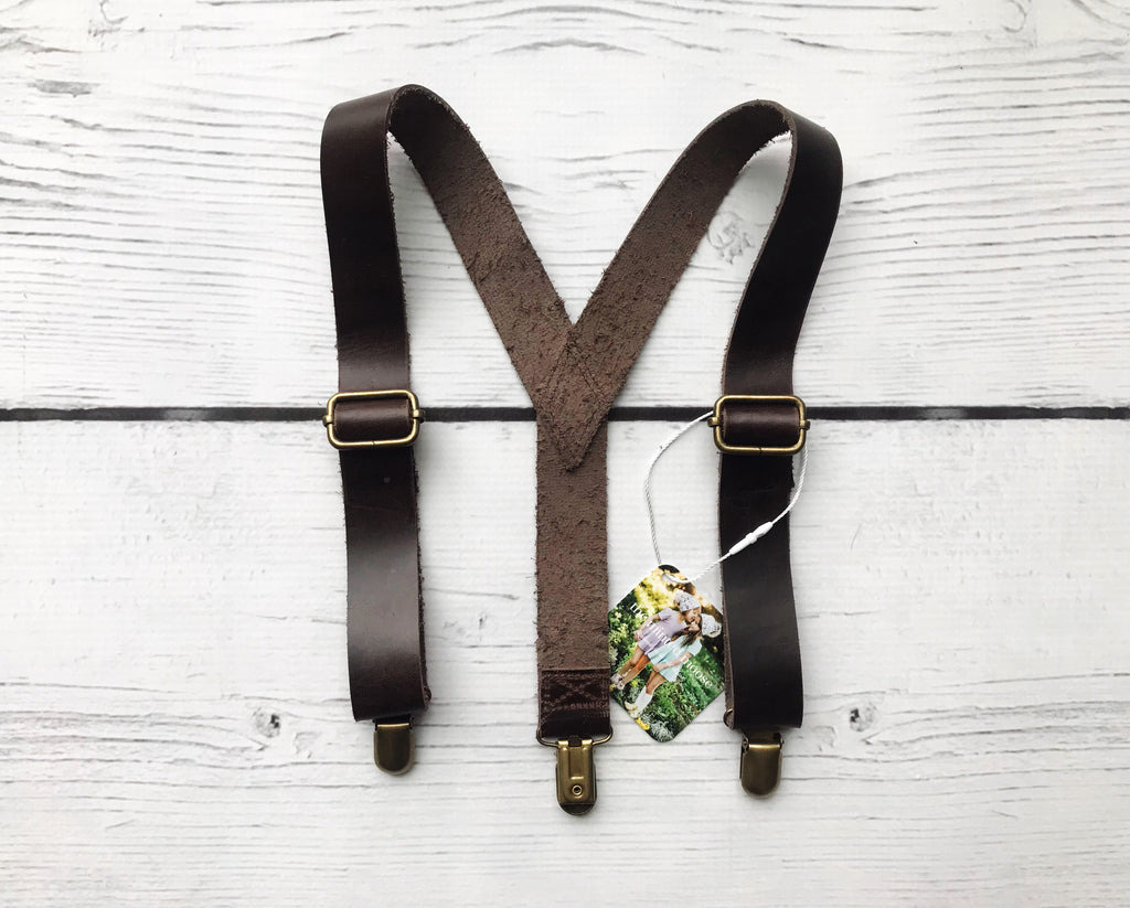 Chocolate Leather Suspenders - The Minted Moose