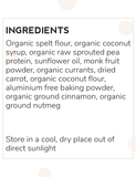 Moyums - Carrot - Healthy Bake Mix Australia Ingredients