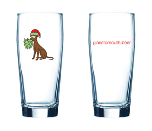 "Glass #16 ""Santa's Hoppy Helper"""