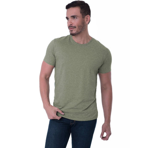 Fierri Pima Cotton Crew Neck Heather Green T shirt Clothing