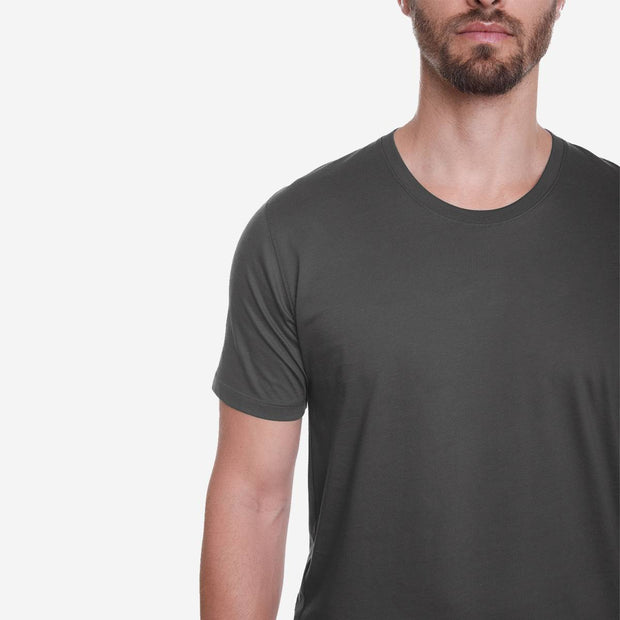 Egyptian Cotton Crew Dark Grey T-shirt Closeup