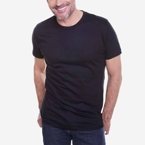 Egyptian Cotton Crew Black Short Sleeve T shirt