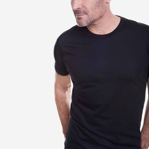 Egyptian Cotton Crew Black Fierri T shirt close up