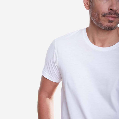 Egyptian Cotton Crew White T-shirt Closeup
